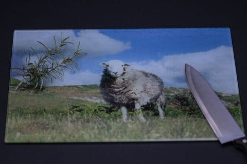 Herdwick Sheep on the Hills Glass Chopping Board Large Size Toughened Glass