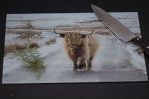 On the Road - Again. Highland Cow Glass Chopping Board Large Size Toughened Glass