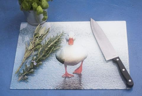 White Duck Glass Chopping Board Large Size Toughened Glass