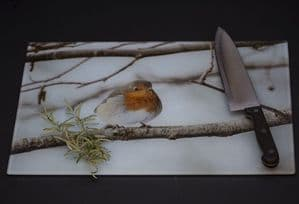 Winter Robin Glass Chopping Board Large Size Toughened Glass