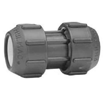 2 x Philmac Poly Grip 32mm straight couplers for blue MDPE pipe. Couplings
