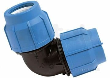 5 x George Fischer 25mm compression elbows for blue MDPE water pipe. GF Plasson
