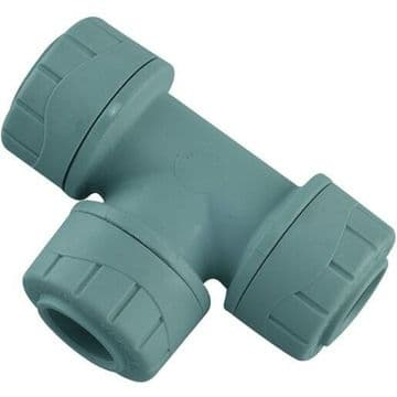 5 x Polyplumb 10mm equal tees. Polypipe push fit plastic pusfit