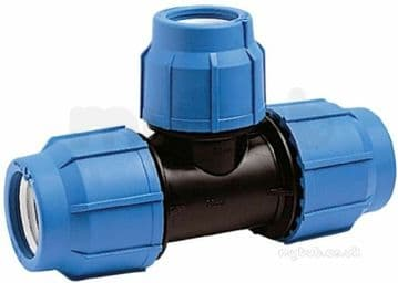 63mm x 63mm x 50mm reducing tee for blue MDPE pipe. GF George Fischer Plasson
