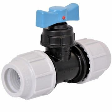 Plasson 25mm stopcock for blue MDPE water pipe.Stop cock tap stoptap compression