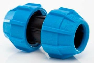 Polypipe 50mm coupler for MDPE pipe. Polyfast compression coupling union 50 mm