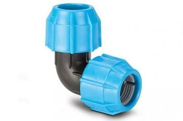 Polypipe 50mm elbow for MDPE pipe. Polyfast compression elbow
