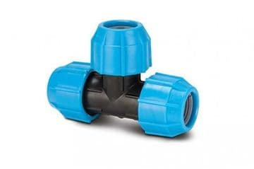 Polypipe 63mm tee for MDPE pipe. Polyfast compression tee