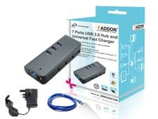 Addon ADDUHC700 7 Ports USB 3.0 Hub and Universal Fast Charger with UK Power Adapter