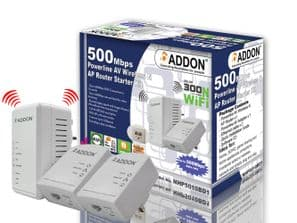Addon NHP5010BD2 500Mbps Powerline AV500 Triple Pack - 1 x 300Mbps WiFi Extender / WiFi Booster with Two Ethernet Ports - UK Plug