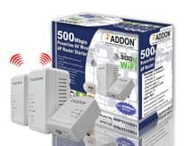 Addon NHP5010BD3 AV500 Powerline 300Mbps WiFi Booster / WiFi Extender with Two LAN Ports - Triple Pack (2 Wireless Unit) - 500Mbps Homeplug - UK Plug