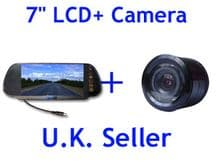 Video Parking Reversing kit 7'' inch water proof LCD Colour Camera