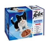 Felix Pouch Kitten Fish & Meat Selection (4 packs of 12 pouches)