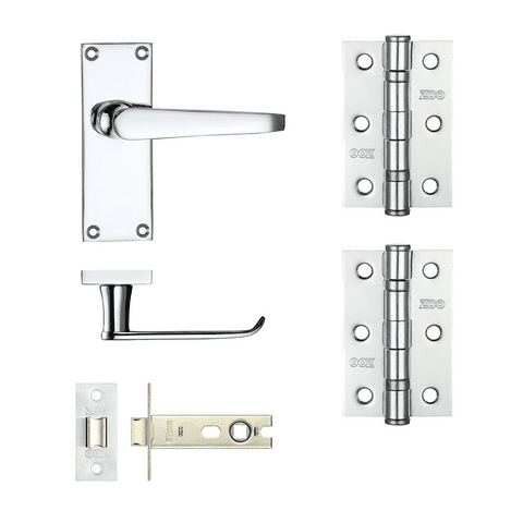 Project Door Latch + Hinge Pack - Polished Chrome