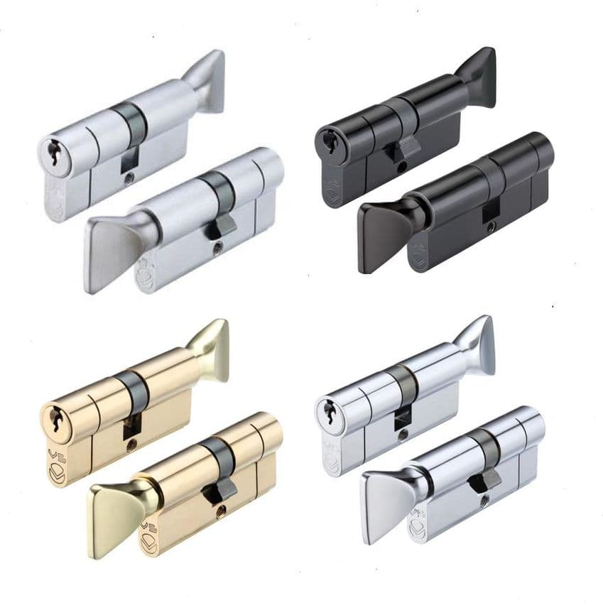 Standard Snap Break-Off Thumbturn  Euro Cylinder​​​​​​​ Lock, Black, Brass, Chrome & Silver.