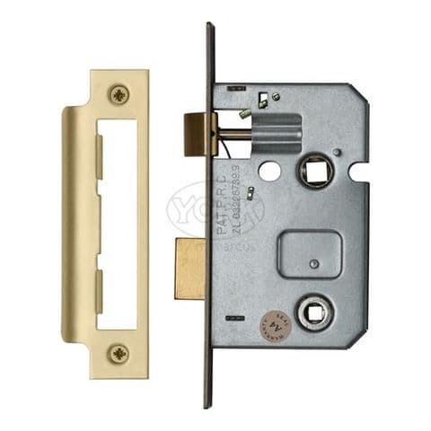 "YKABL2-SB -  York Bathroom Lock 2 1/2"" Satin Brass finish"