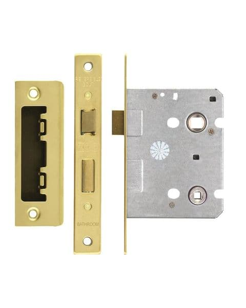 ZBC76PVD Bathroom Lock 3'' Polished Brass
