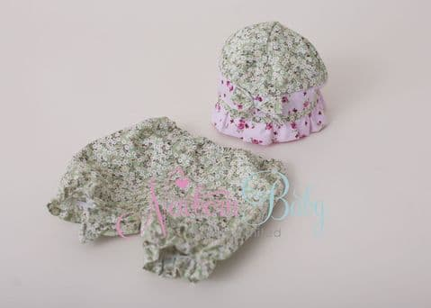 Pink & Green Flapper Hat & Bloomers Set