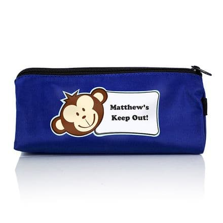Personalised Blue Monkey Boy Pencil Case