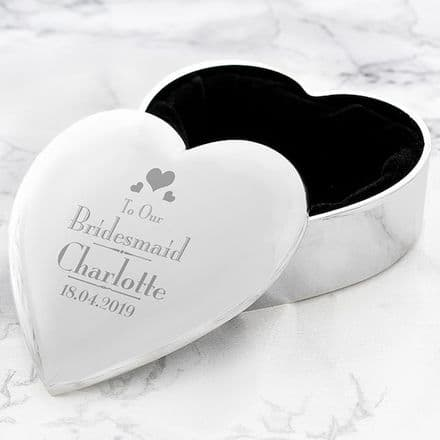 Personalised Decorative Wedding Bridesmaid Heart Trinket Box