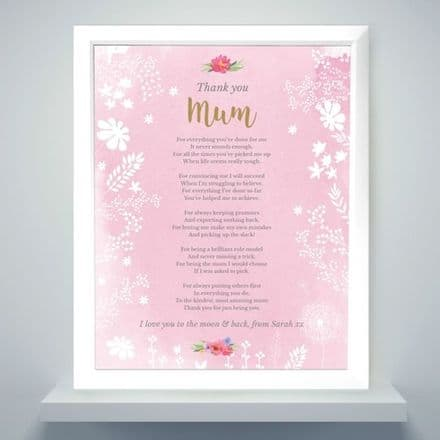 Personalised Floral Watercolour White Framed Poster Print