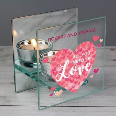 Personalised Glass Tea Light Candle Holder - 'All You Need is Love' Confetti Hearts