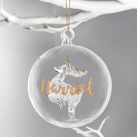 Personalised Gold Glitter Name Only Reindeer Glass Bauble