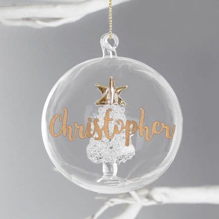 Personalised Gold Glitter Name Only Tree Glass Bauble
