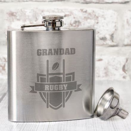 Personalised Hip Flask - Rugby