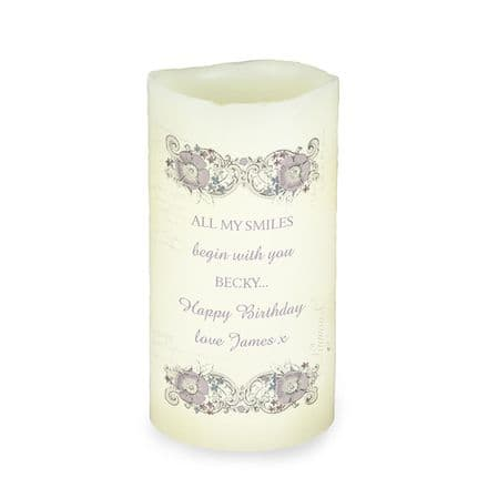 Personalised LED Candle -  Floral Spiral