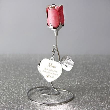 Personalised Pink Rose Bud Ornament - Swirls & Heart