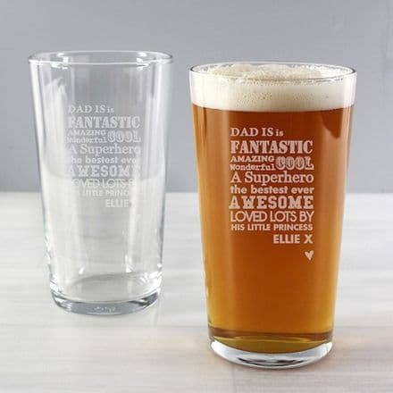 Personalised Pint Glass - He is