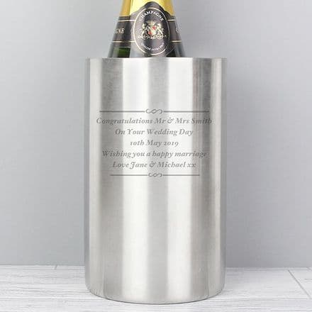 Personalised Stainless Steel Wine Cooler - Any Message
