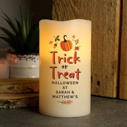 Personalised Trick or Treat LED Candle