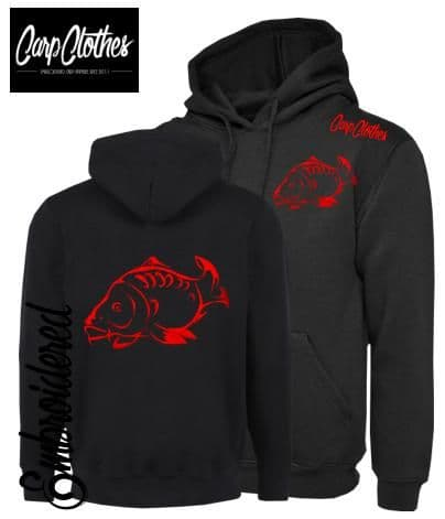 001 EMBROIDERED CARP FISHING HOODIE BLACK - PLUS SIZE