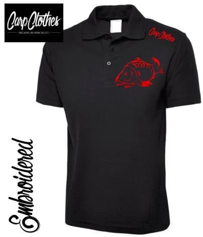 001 EMBROIDERED CARP FISHING POLO SHIRT  BLACK - PLUS SIZE