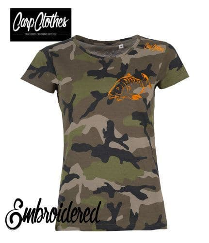 001 LADIES EMBROIDERED CAMO T