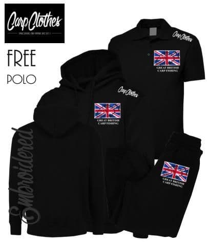 002 EMBROIDERED CARP PACKAGE BLACK - **FREE POLO SHIRT**