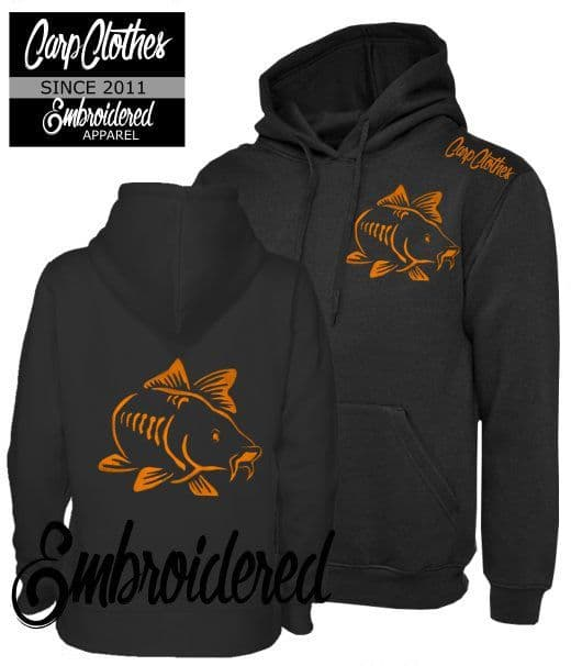 003 EMBROIDERED CARP FISHING HOODIE BLACK - PLUS SIZE