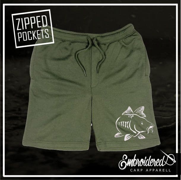 003 EMBROIDERED OLIVE SHORTS