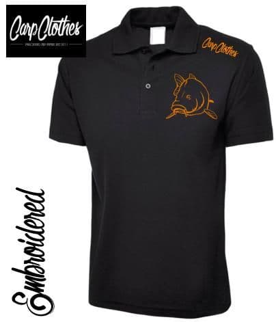 004 EMBROIDERED CARP FISHING POLO SHIRT  BLACK - PLUS SIZE