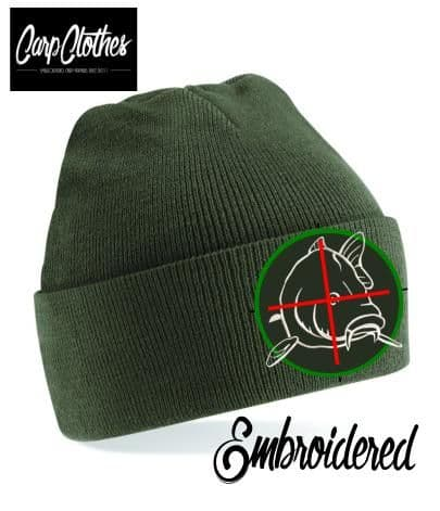 006 EMBROIDERED CARP CLOTHES BEANIE - OLIVE