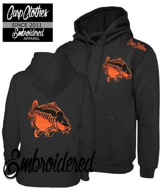 009 EMBROIDERED CARP FISHING HOODIE BLACK - PLUS SIZE