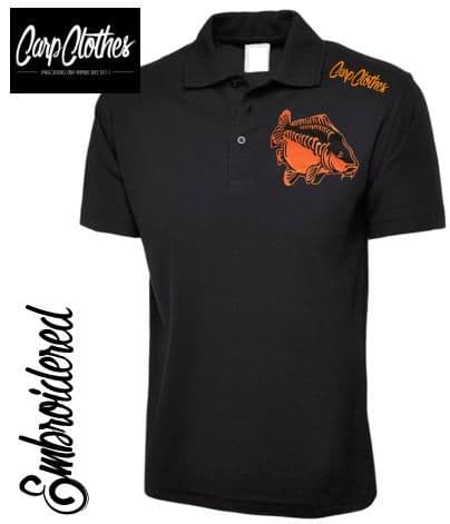 009 EMBROIDERED CARP FISHING POLO SHIRT  BLACK - PLUS SIZE