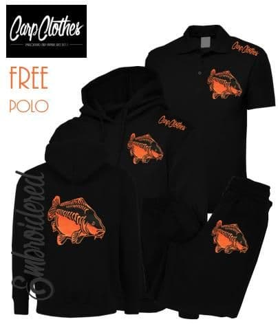 009 EMBROIDERED CARP PACKAGE BLACK  **FREE POLO SHIRT**