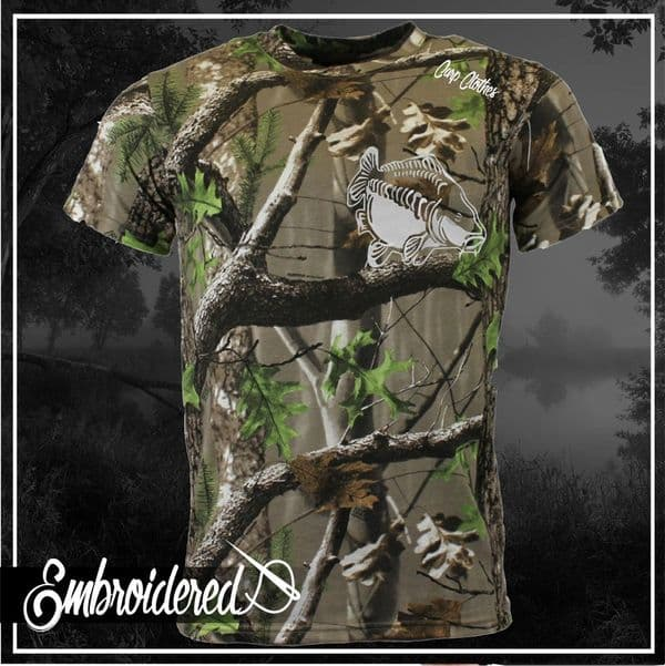 009 EMBROIDERED TREE CAMO T SHIRT