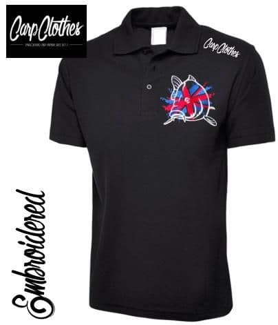 011 EMBROIDERED CARP FISHING POLO SHIRT  BLACK - PLUS SIZE
