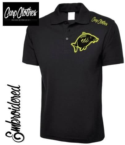 013 EMBROIDERED CARP FISHING POLO SHIRT  BLACK - PLUS SIZE