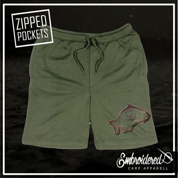 013 EMBROIDERED OLIVE SHORTS