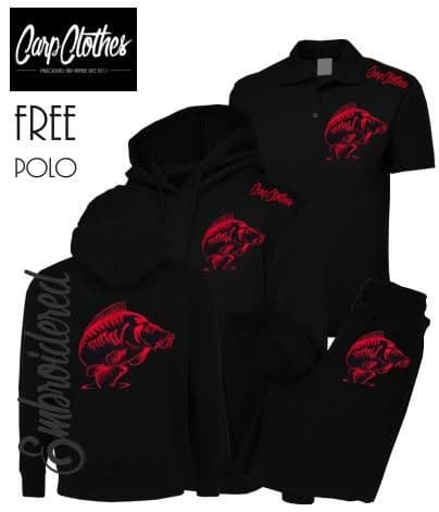 014 EMBROIDERED CARP PACKAGE BLACK  **FREE POLO SHIRT**